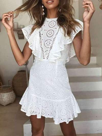 Sexy Lace Openwork Embroidered Lace Stitching Sleeveless Ruffled Dress