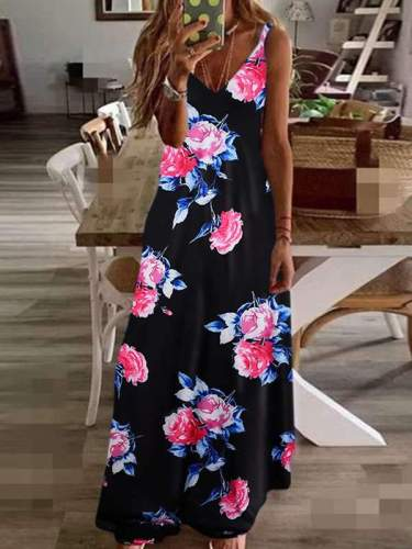 Chic Slim long floral printed halter maxi dresses