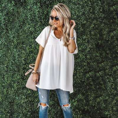 Loose Casual V neck Short sleeve Pure Shift Dresses