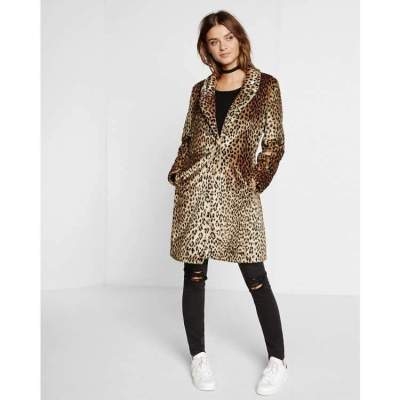 Plush Leopard print Stand collar Coats