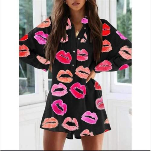 Fashion Casual Loose Lip print Stand collar Long sleeve Jumpsuits