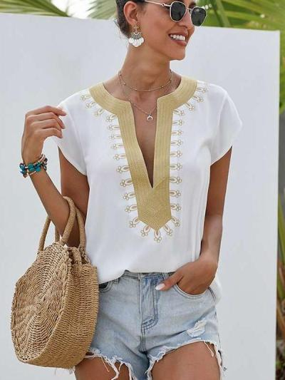 Casual Loose V neck Embroidery Short sleeve T-Shirts