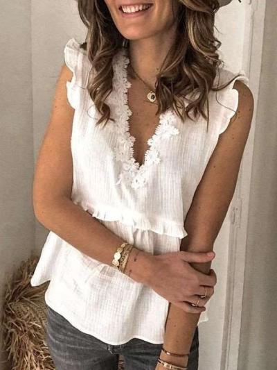 Fashion Pure V neck Sleeveless Lace Falbala Blouses