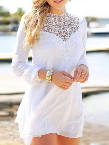 Lace Gored Long sleeve Shift Dresses