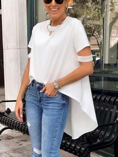 Casual Pure Round neck Short sleeve Irregular T-Shirts