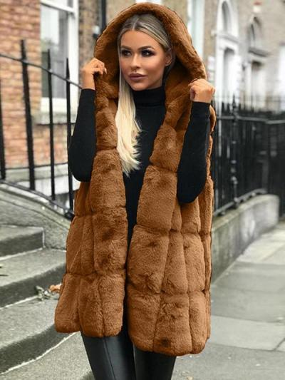Women plain fashion hooded vests waistcoats