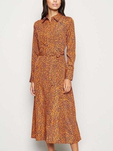 Fashion Print Lapel Lacong Long sleeve Skirt Skater Dresses
