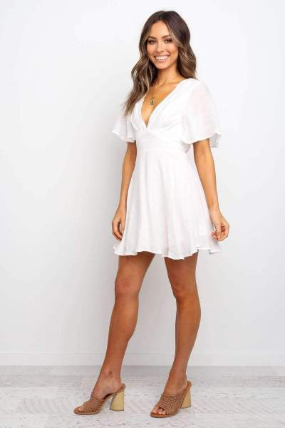Pure V neck Short sleeve Skater Dresses