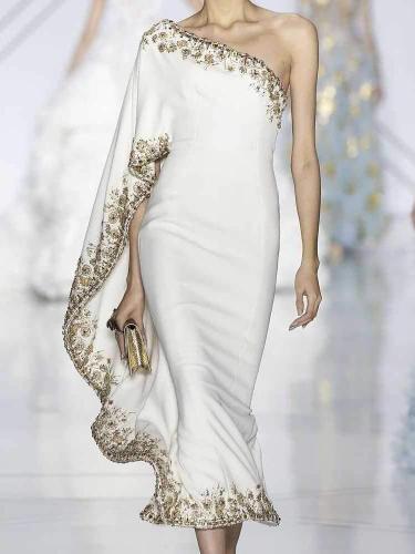 One Shoulder Asymmetric Hem Embroidery Batwing Sleeve Evening Dresses