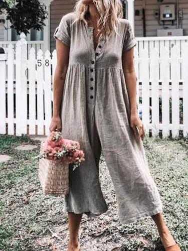 Women Casual Short Sleeve Plain Button Jumpsuits