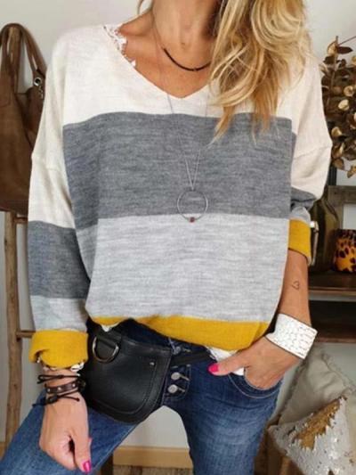 Women v neck stripe long sleeve T-shirts