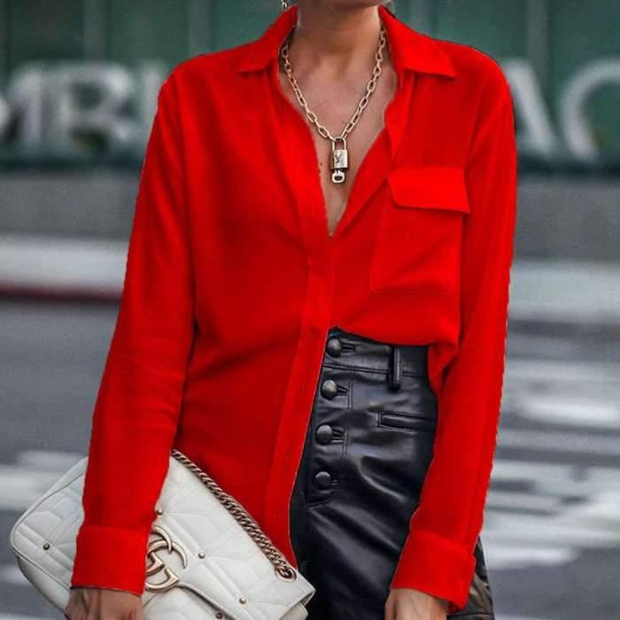 Fashion Pure Lapel Long sleeve Blouses