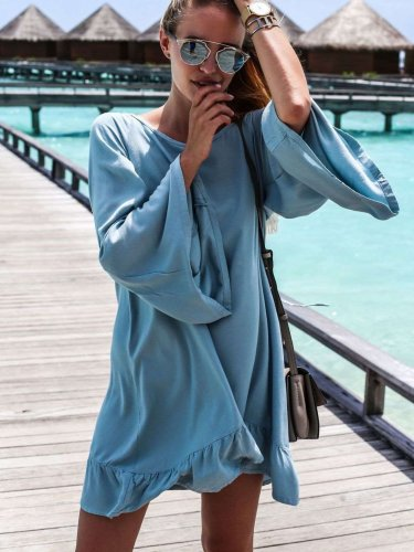 Fashion Loose Casual Round neck Backless Macrame Falbala Shift Dresses