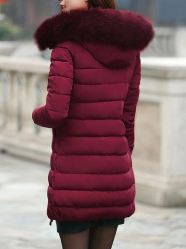 Fur Collar Hoodie Long Winter Coat