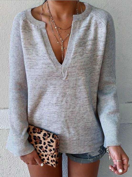 Fashion Pure V neck Long sleeve T-Shirts