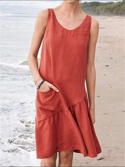Casual Round neck Vest Pure Shift Dresses