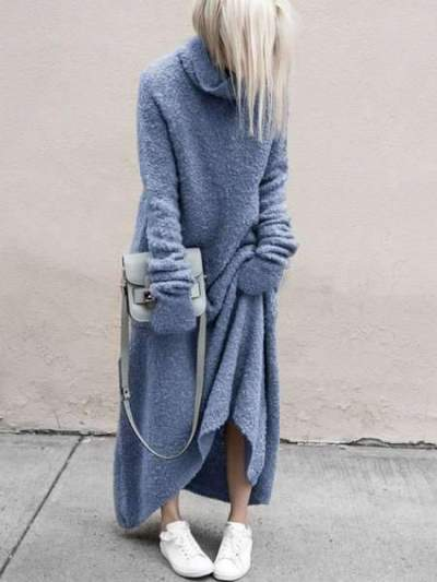 Fashion Casual Pure Pile collar Long sleeve Plush Maxi Dresses