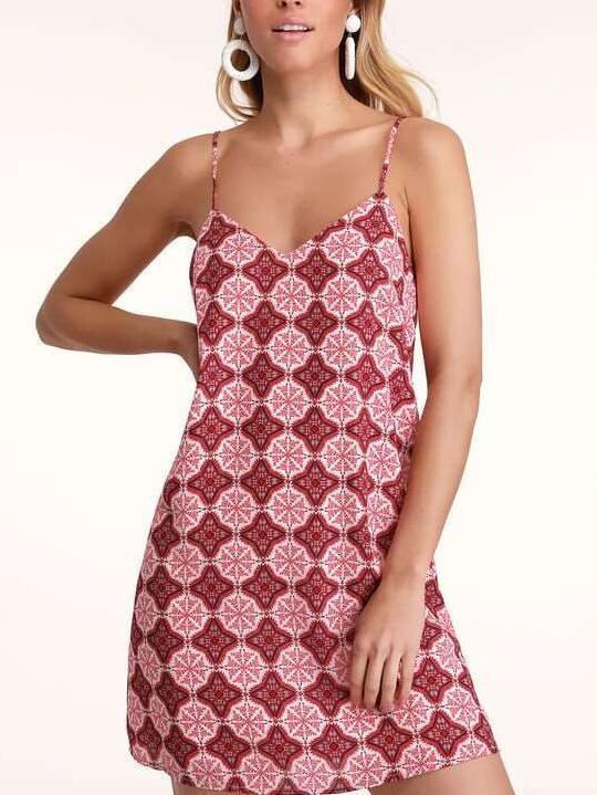 Fashion Print Backless Vest Shift Dresses