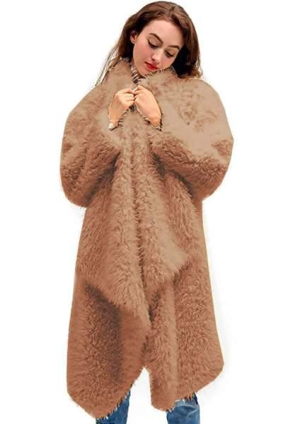 Fashion Plush Pure Long sleeve Coats