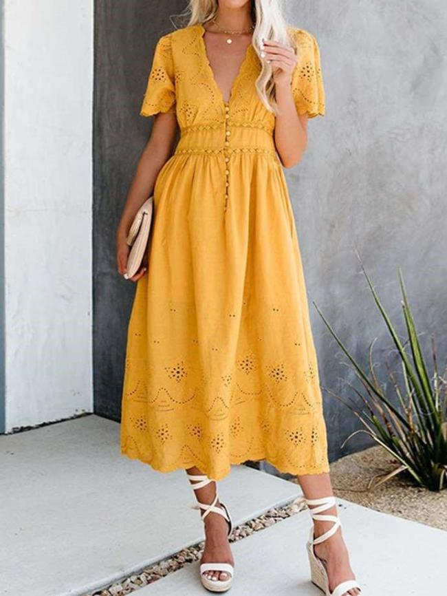 Fashion V neck Short sleeve Hollow Skater Dresses