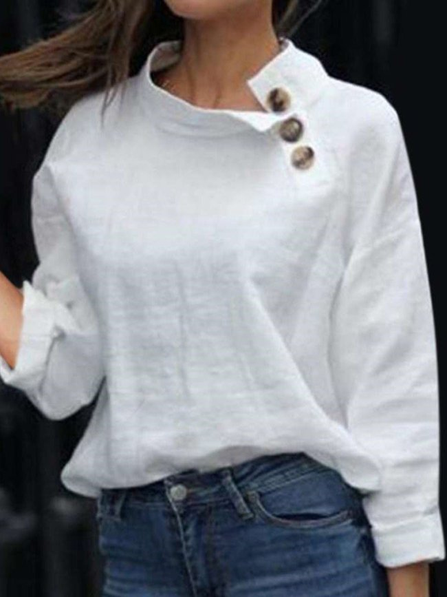 Loose High collar Long sleeve Pure Fastener Blouses