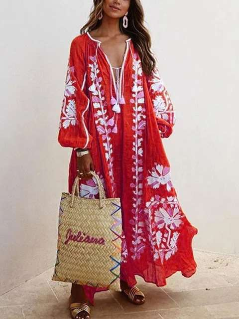Casual Loose Print V neck Long sleeve Macrame Maxi Dresses