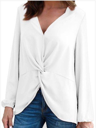 Fashion V neck Long sleeve Snarl Blouses