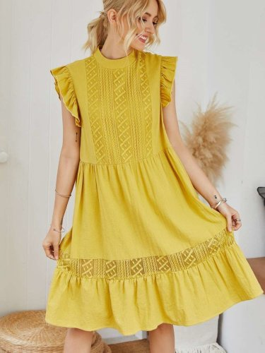 Casual Loose Pure Falbala Stand collar Shift Dresses