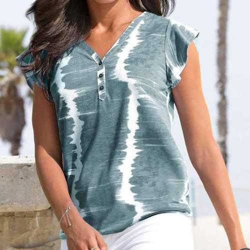 Fashion Tie-dyed V neck Short sleeve Falbala T-Shirts