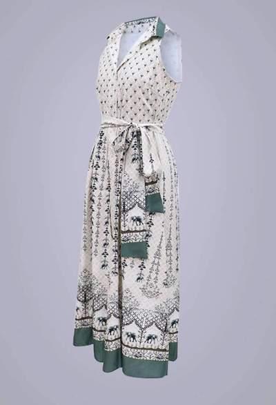 Fashion Print Lapel Lacing Sleeveless Maxi Dresses