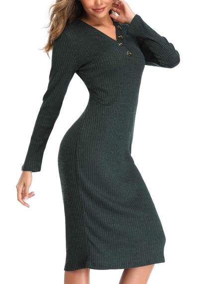 Fashion V neck  Fastener Long sleeve Knit Tee Maxi Dresses