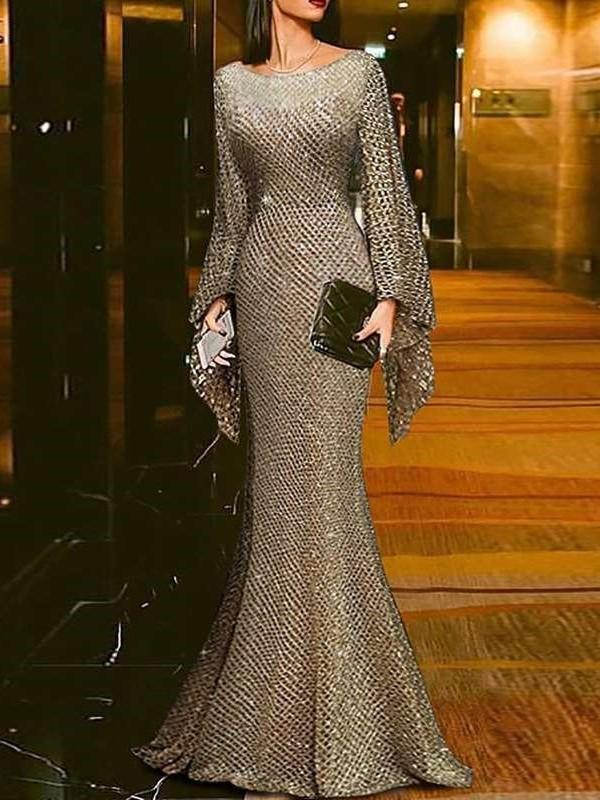 Sexy Round neck Long sleeve Gridding Evening Dresses