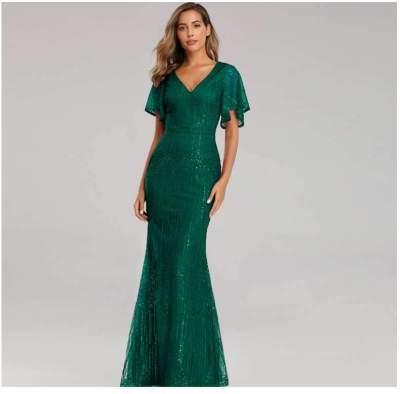 Sexy V neck Short sleeve  Fishtail Evening Dresses