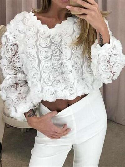 Fashion Lace Hollow out Round neck Long sleeve T-Shirts