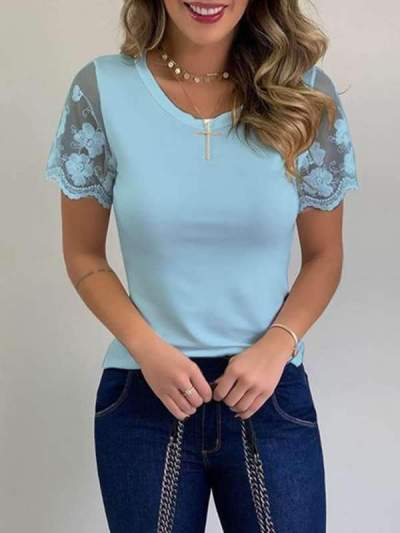 Fashion lace round-neck shirt casual lady short sleeve T-shirts