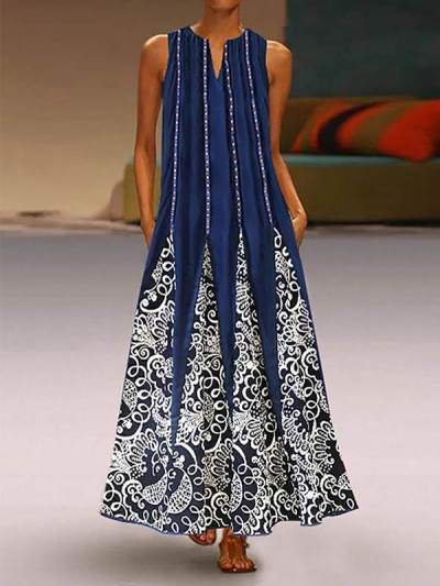 Women's Vintage Print Sleeveless V-neck Maxi Dresses