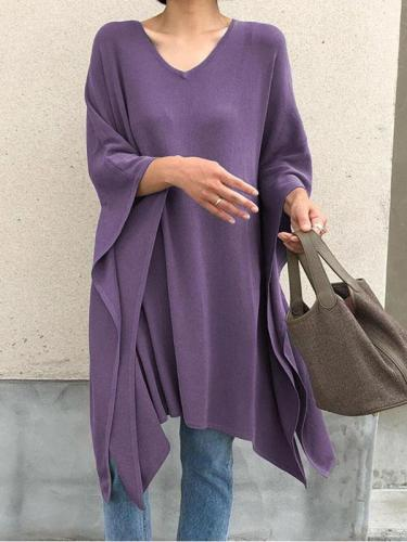V neck stylish long sleeve irregular hem women T-shirts