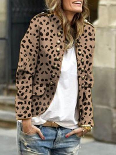 Women Button Stand collar long sleeve casaul blazer coats