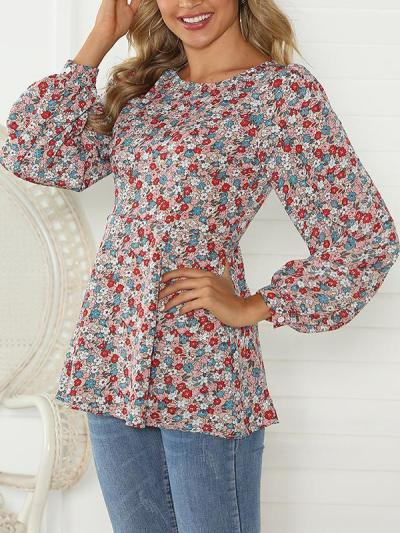Loose round neck floral printed women long sleeve T-shirts