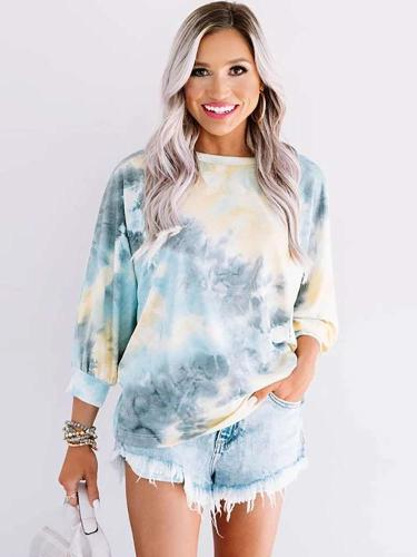 Fashion Tie-dye Round neck Long sleeve Backless T-Shirts