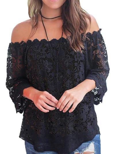 Lace off shoulder pure color blouse for woman