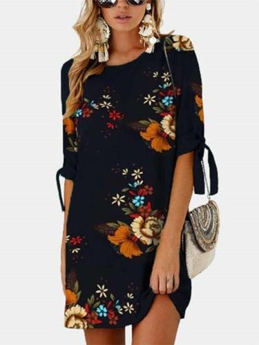 Casual Loose Print Half sleeve Shift Dresses