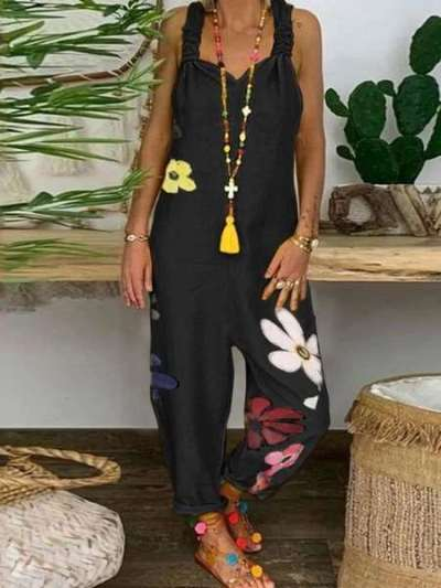 Loose Casual Print V neck Sleeveless Jumpsuits