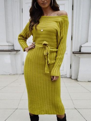Women sexy one off shoulder long sleeve plain maxi dresses