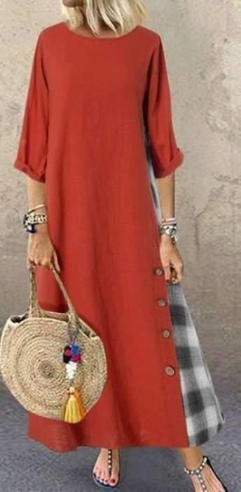 Fashion Gored Long sleeve Plaid Maxi Dresses