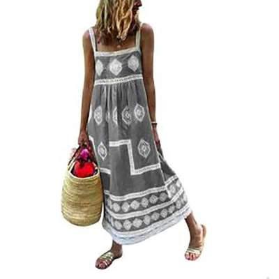 Casual Loose Print Vest Sleeveless Lace Maxi Dresses