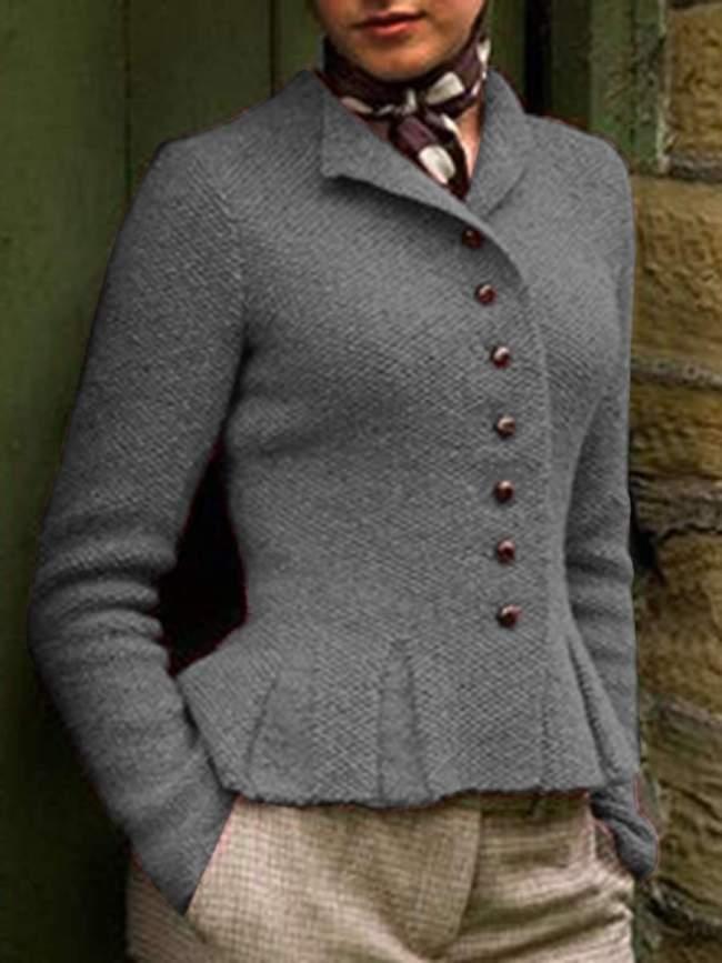 Fashion V neck Pure  Fastener Coats
