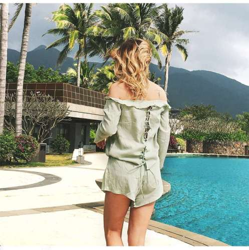 Sexy Off shoulder Lacing Long sleeve Two-piece Suit