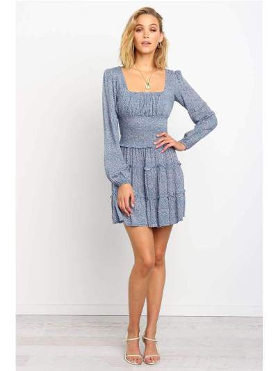 Fashion  Stringy selvedge Drape Long sleeve Skater Dresses