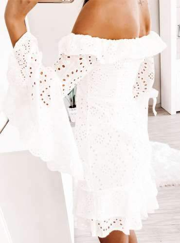 Fashion Pure Lace Hollow out One shoulder Skater Dresses